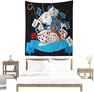 alisoso Tapestries for Sale,Alice in Wonderland Decorations,Rabbit Amazing with Motion Cups Hearts Rose Flower Character Alice Cartoon,Multi W47 x L47 inch Wall Decoration Tapestry Beach Mat