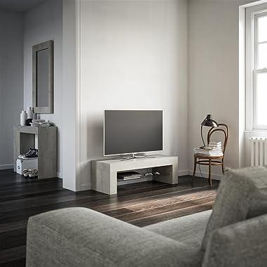 MOBILI FIVER Mobilifiver Meuble Télé, Evolution, Ciment, 112 x 40 x 36 cm, Mélaminé/Verre, Made in Italy