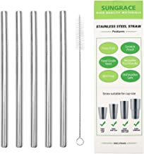 Sungrace Reusable Metal Stainless Steel Extra Wide Smoothie Drinking Straws Set with Cleaning Brush(5 Pack, Straight)