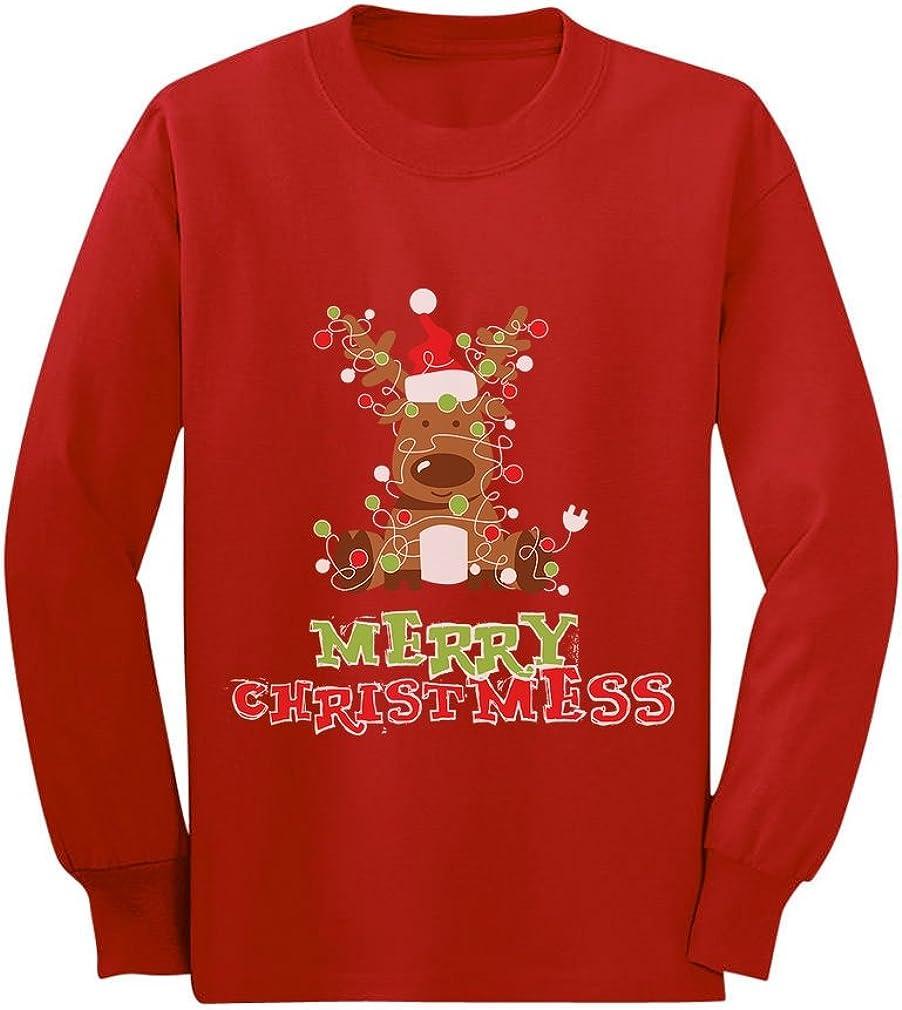 Merry Christmess Cute Reindeer Xmas Lights Toddler Kids Long Sleeve T-Shirt