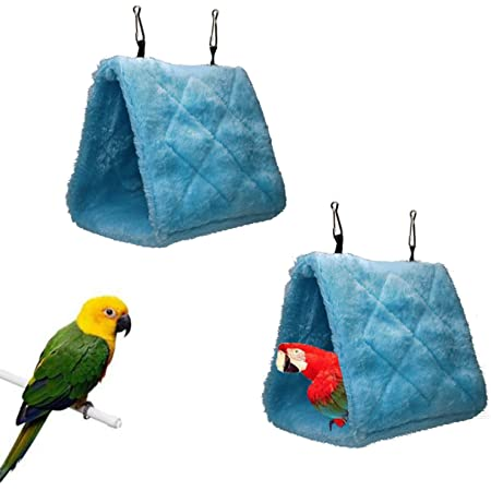 Keersi Warm Bird Nest House Bed Hanging Hammock Toy for Budgie Parakeet Cockatiel Cockatoo Conure Lovebird African Grey  Parrot Cage Perch Stand