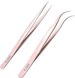 LIVINO Eyelash Extension Tweezers Straight - Set of 2 Stainless Steel Extension Tweezers with Curved Tip - Eyelash Extensi...