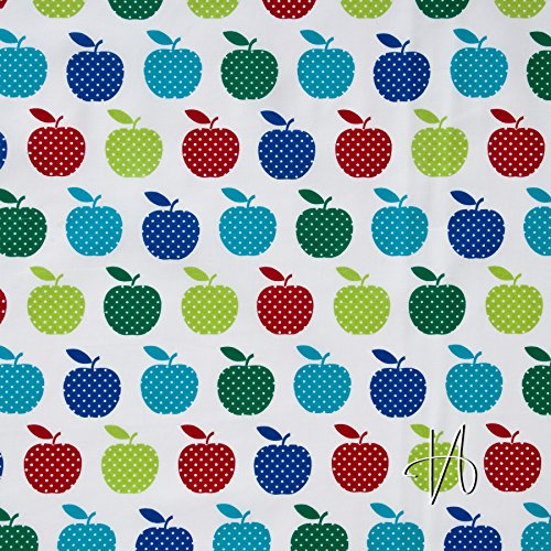MIRABLAU DESIGN Stoffverkauf Baumwolle Batist Äpfel rot grün blau weiß (23-005M), 0,5m