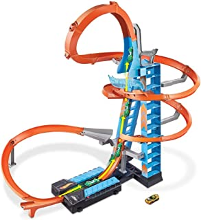 Hot Wheels Sky Crash Tower Track Set, Orange Track & 1 Hot Wheels Vehicle, For Kids 5 to 10 Years Old & Up GJM76
