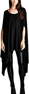 TINYHI Womens Glamour Sexy Blouse Asymmetric Loose Tunic Tops Scoop Neck