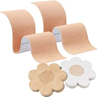 20 Pcs Breast Lift Tape + 20Pcs Nipple Covers, MIILYE Breast Lift Pasties, Bust Lifter, Cleavage Enhancement for Sizes A,B...