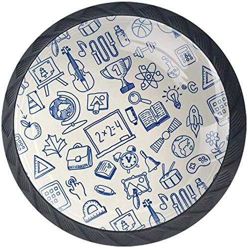 School Theme Icons Schrank Knöpfe - 4 Stück Schrankknöpfe Schubladenknöpfe Möbelknöpfe Möbelgriffe Möbelknauf Schrankgriffe für Küche Büro
