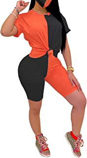 Women Sports 2 Piece Outfit - Color Block Short Sleeve T-Shirts Top + Bodycon Shorts Tracksuit Set