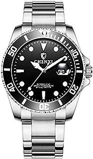 O.H 腕時計 30M防水 ダイバーズ ウォッチ デイト 日付 発光 逆回転防止 ベゼル ダイアル メタルバンド クォーツ式 メンズ (シルバー)