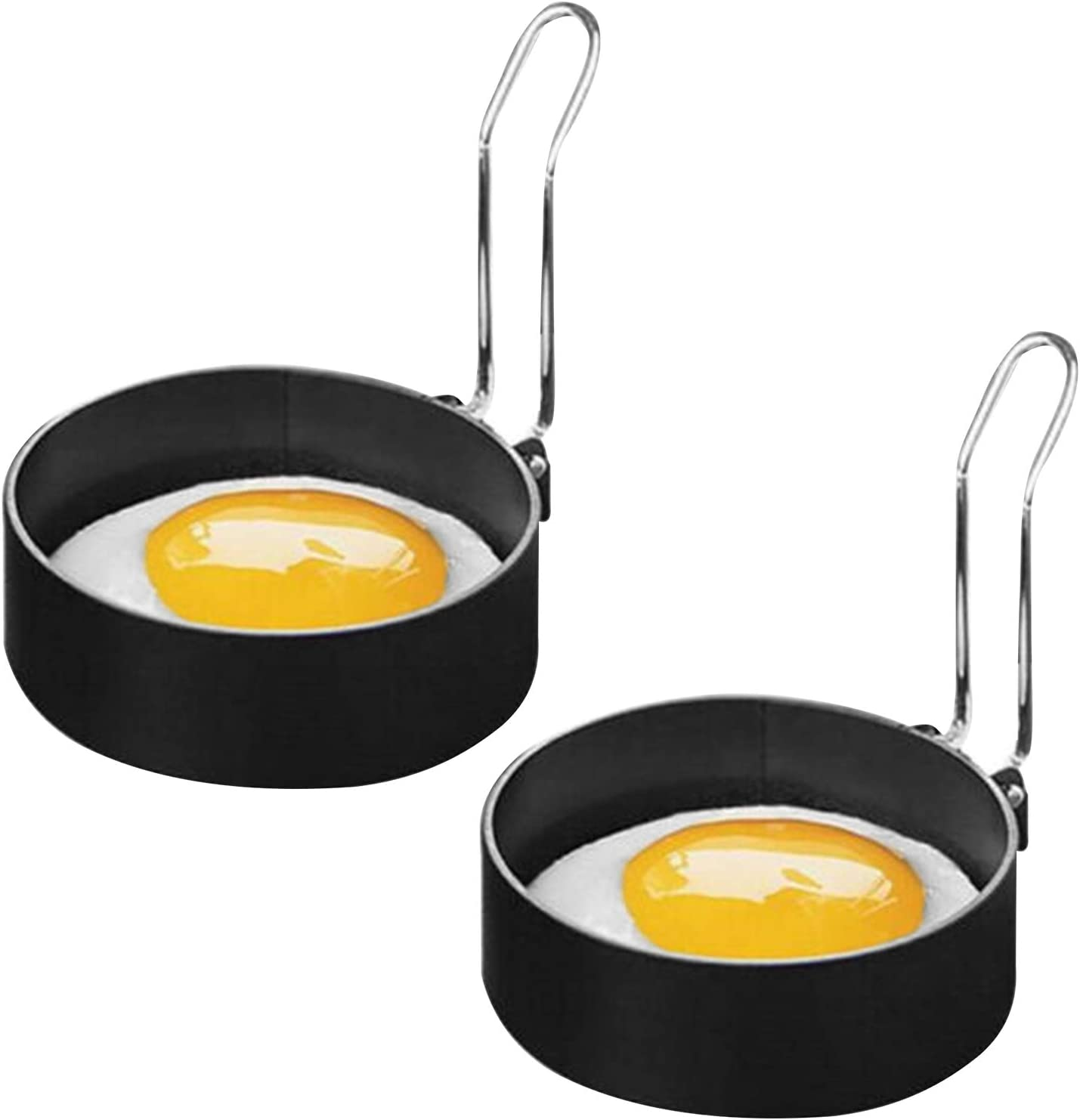 Soapow 2pcs Non-Stick Fresno Mall Metal Egg Mold Spring new work one after another Circle Frying Fried Perfect