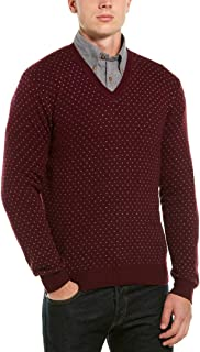 Mens Wool-Blend V-Neck Sweater, XL, Red