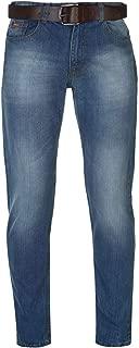 Jeans Denim Belted Mens Trouser Bottoms