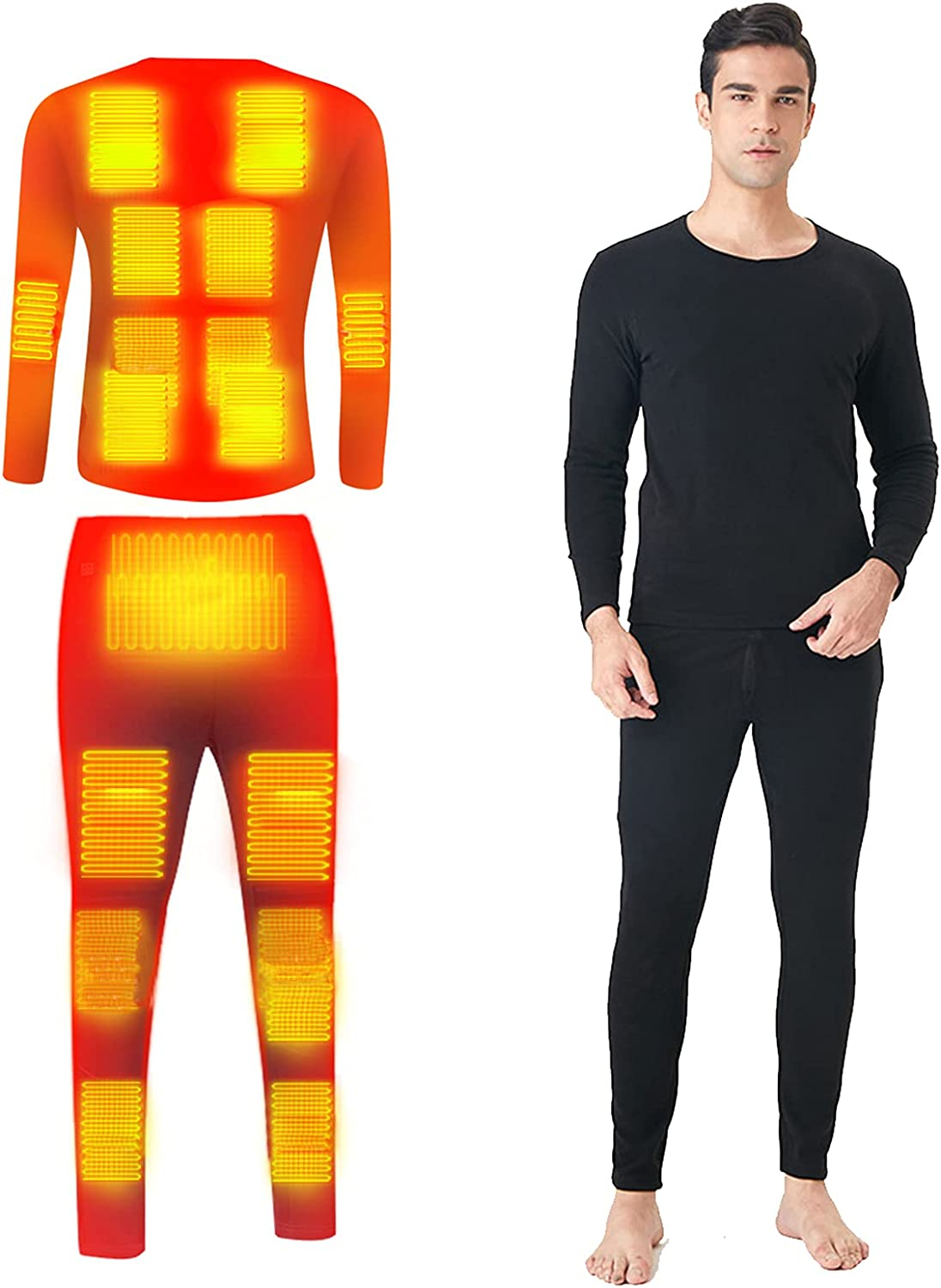 Heating Underwear Set 20-Zones Heated Smart Control Temperature USB Electric Thermal Tops Pants for Winter Daily Life