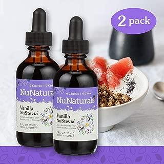 NuNaturals Vanilla Stevia Drops - All Natural Liquid Sweetener - 2 oz (2 Pack)