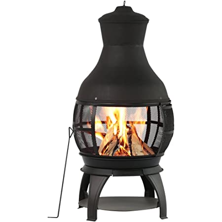 BALI OUTDOORS Outdoor Fireplace Wooden Fire Pit, Chimenea, Antique Brown-Black