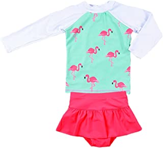 Jojobaby Baby Girls Kids 2Pcs Long Sleeve Flamingo Swimsuit Rash Guard Bathing Suit UPF 50+ UV