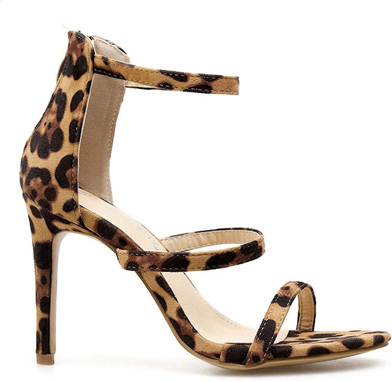 JIESENGTOO Women High Heel Sandals Summer Leopard Flock Buckle Strap Ladies Sandals Thin Heel