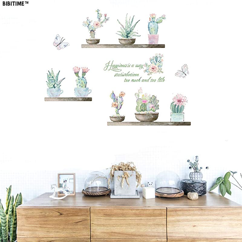 BIBITIME Vinyl Wall Decals Stickers Peel And Stick Potted Succulent Plant Cactus Blooming Flower Flying Butterfly Wall Sticker For Living Room School Classroom Nursery Bedroom Kids Room Decor Art Mura