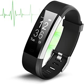 Fitness Tracker, ID115 Plus Smart Bracelet with Heart Rate Monitor, IP67 Waterproof Activity Tracker, Smart Wristband with Sleep Monitor Calorie/Step Counter Bluetooth 4.0 for Android IOS 。ュ