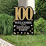 Big Dot of Happiness Adult 100th Birthday - Gold - Party Decorations - Birthday Party Welcome Yard Sign