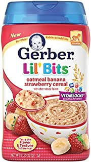Gerber Lil' Bits Baby Cereal, Oatmeal Banana Strawberry, 8 Ounce(pack of 2)