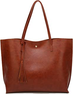Womens Soft Leather Tote Shoulder Bag from Dreubea, Big Capacity Tassel Handbag
