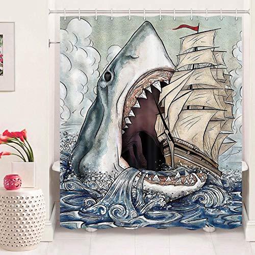 Funny Shark Duschvorhang für Badezimmer, Big Mouth Shark Bites a Segelboot, Funny Ocean Theme, Stoff Duschvorhang Set, Duschvorhang mit 12 Haken (175,3 cm B x 177,8 cm L)