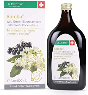 Dr.Dünner Sambu Black Elderberry Syrup, 17 fl oz + Elderflower for Immune Support, Non-GMO, Gluten Free, Vegetarian