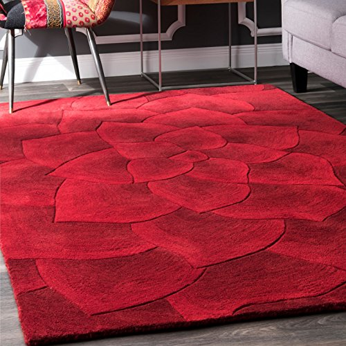 nuLOOM Gol Hand Tufted Wool Rug, 5' x 8', Red