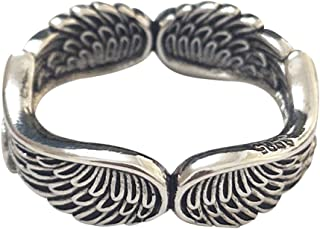 Vintage Punk Angel Wing Feather Rings for Women Girls Statement Band Middle Finger Tail Ring Stackable Dainty Party Weddin...