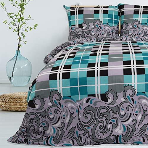 Bettwäsche 155x220 cm 2 teilig aus 100% Baumwolle Renforce mit Reißverschluss Bettwäscheset 1 Bettbezug und 1 Kissenbezug Komfortgröße, Farbe Türkis Grau, Mehrfarbig mit Muster