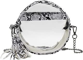 Women Clear Snakeskin Pattern Crossbody Bag Small Shoulder Handbag with Tassel