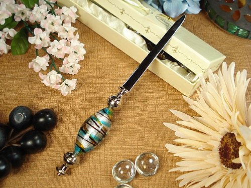 FavorOnline Murano Glass Design Blue and Gold Stripes Letter Opener
