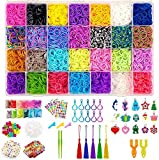 HANMUN 11700+ Pcs Rainbow Rubber Bands Bracelet Making Kit with Loom Bands Storage Container. Great Gifts for Girls and Boys ( Limiteless Different Rubber Bands Beads Stickers Kits ) …
