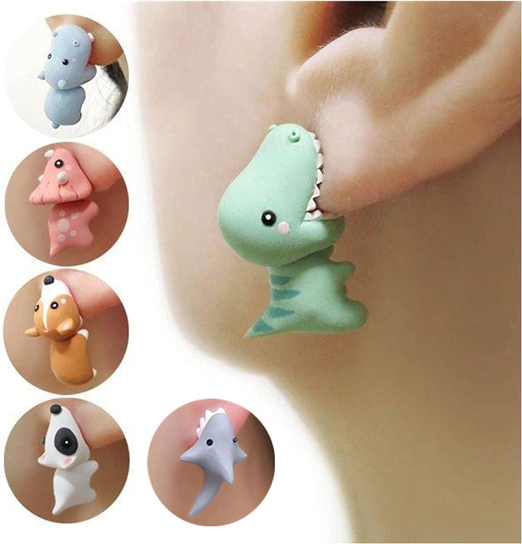 Cute Animal Bite Earring Polymer Clay Studs, 3D Clay Earrings, Fashion Simple Handmade Polymer Animal Stud Earrings for Girls Women (T REX Dinosaur)