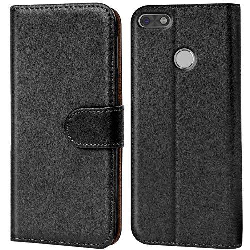 Verco P9 Lite Hülle, Handyhülle für Huawei P9 Lite Tasche PU Leder Flip Hülle Brieftasche - Schwarz