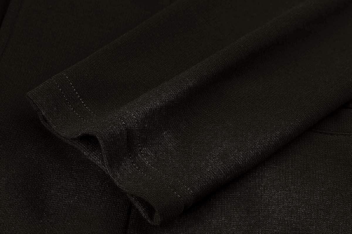 MINTLIMIT Damen Blazer mit Taschen Dünn Langarm Offener Silhouette Leicht Bolero Kragenloser Jacke Cardigan Anzugjacke Schwarz