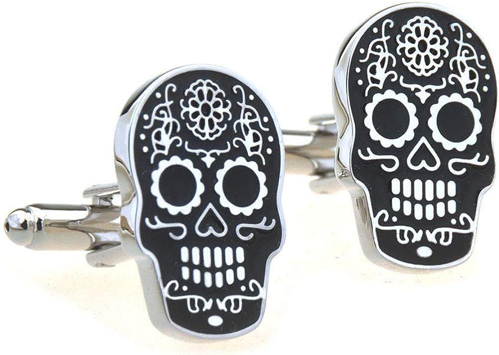 Day of The Dead Skull Black Cufflinks Shirt Cuff Links
