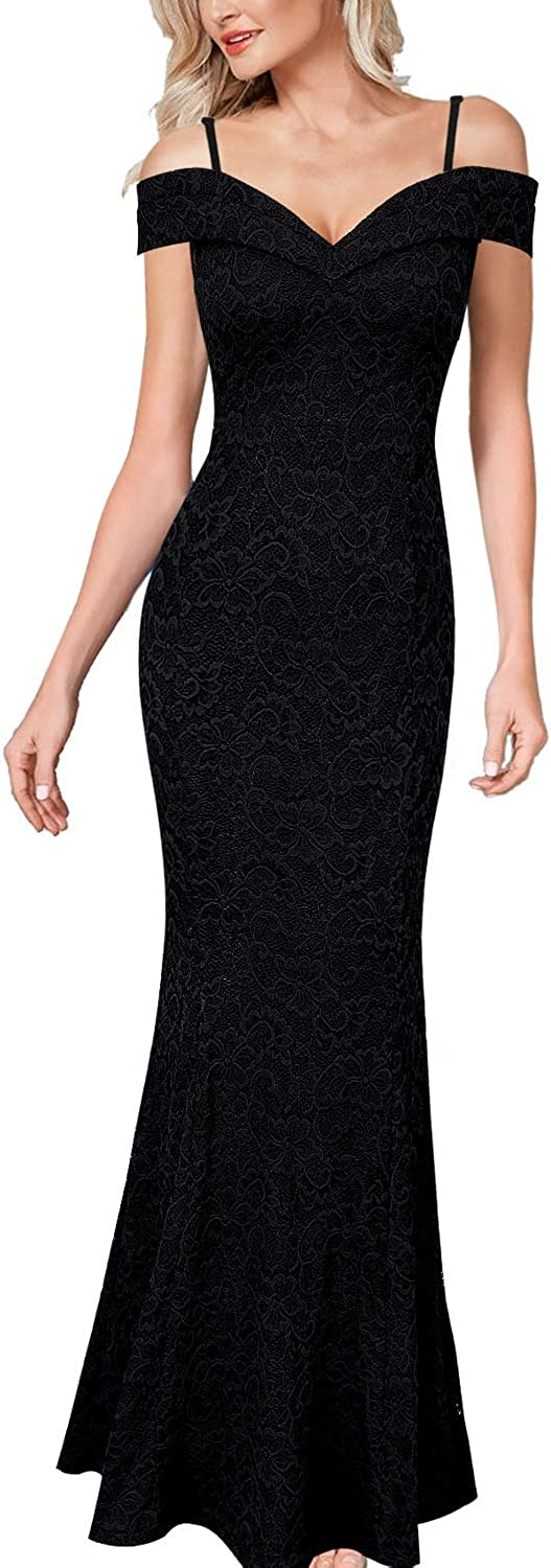 VFSHOW Womens Spaghetti Strap Floral Lace Formal Evening Mermaid Maxi Dress