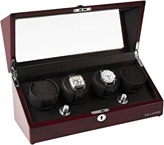 BILLSTONE Automatic Watch Winder - Collector 4 - Winds 4 Automatic Watches/Dedicated Rotor/Quiet Mabuchi Motor/Easy Set-up/4 Pre-Programmed Modes (Rosewood Finish)