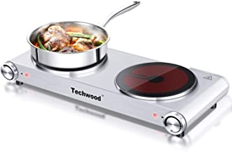 Techwood 1800W Electric Hot Plate, Countertop Stove Double Burner for Cooking, Infrared..