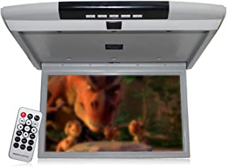 15 inch Car Roof Mount Flip Down Monitor Ceiling TV,Car Overhead Player Roof Mounted Monitor with USB/SD card/HDMI Port,Gr...
