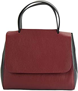 FLORENCE LEATHER MARKET Borsa a mano Rossa e Nera in pelle donna 37x16x22 cm - Gaia - Made in Italy
