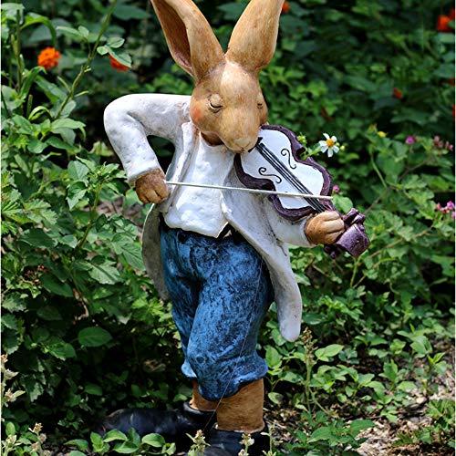 Jardin Extérieur Blue Rabbit Cylindre Fleur Animal Pot De Jardinage Artisanat Sculpture Décoration- (A B) A:30 * 20 * 53cm