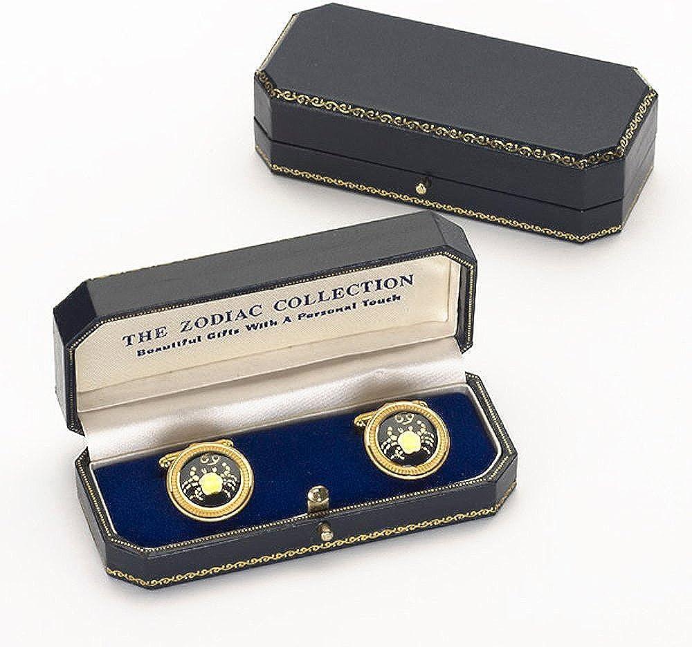 Zodiac 18-Karat Gold Plated Navy Enamel Cufflinks - Handmade in England
