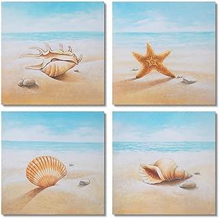 Gold Orange Starfish and Seashells on The Beach 4 PCS Oil Painting Beach Stone Sea Shells Sand Sunshine Wall Art Stretched Canvas Art Set Framed (16x16inch4pcs)