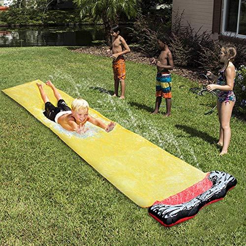 Tobogán de agua para patio trasero de 15.7 pies, toboganes de agua para niños, toboganes de agua para césped con almohadilla protectora, tobogán de agua para jardín, agua para césped S (piscina)