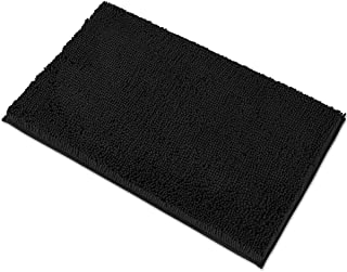 MAYSHINE 20x32 Inches Non-Slip Bathroom Rug Shag Shower Mat Machine-Washable Bath Mats with Water Absorbent Soft Microfibers of - Black