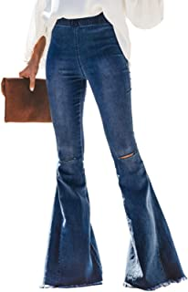 Women Destoryed Flare Jeans Elastic Waist Bell Bottom Raw...
