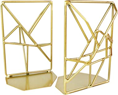 JINSEY Bookends,Decorative Bookends for Heavy Books Metal Bookends Gold Non-Skid Heavy Duty Bookshelf Holder Unique Geometric